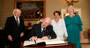 L-R President  Michael D Higgins, Sir Peter Cosgrove, Sabina Higgins and Lady Cosgrove at Áras an Uachtaráin on Friday. Photograph:  Conor McCabe