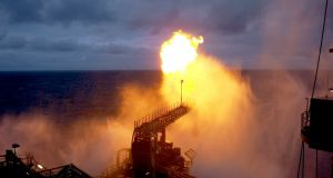 A 40m gas flare from the Ocean Guardian drilling rig during a well production test at the Corrib field in 2014.