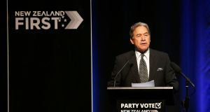 New Zealand First leader Winston Peters speaks at the 2017 New Zealand First Convention in Manukau on July 16th. Photograph: Phil Walter/Getty Images