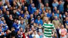 Celtic's Leigh Griffiths celebrates scoring their second goal. Photograph: Russell Cheyne/Reuters