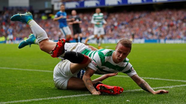 Leigh Griffiths in action with Rangers' Ross McCrorie. Photograph: Russell Cheyne/Reuters