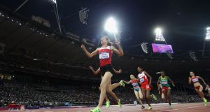 Asli Cakir Alptekin won the 1,500m at the London Olympics. Photograph:  Michael Steele/Getty Images