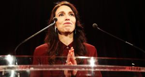 New Zealand  Labour Party leader Jacinda Ardern speaks at an election party in Auckland. Photograph: Hannah Peters/Getty Images