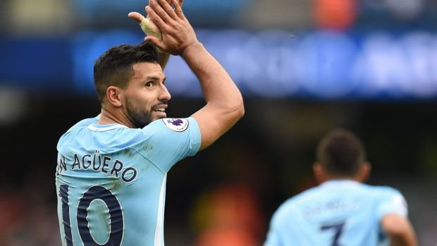 Manchester City's Argentinian striker Sergio Aguero celebrates after scoring their fourth goal. Photograph: Getty Images