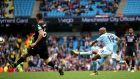 Manchester City's Fabian Delph scores his side's fifth goal. Photograph: Nick Potts/PA Wire.
