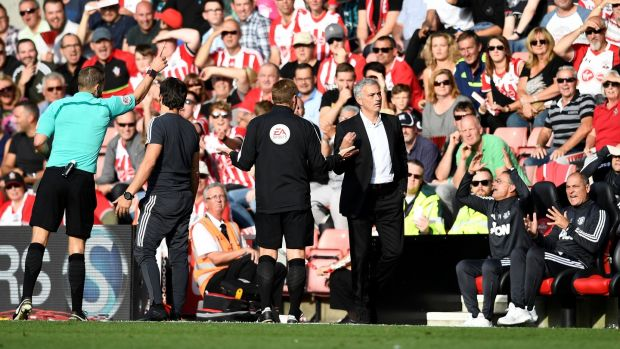 Manchester United manager Jose Mourinho is sent to the stands. Photograph: Dylan Martinez/Reuters