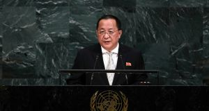 North Korea's foreign minister Ri Yong-ho addresses the  UN General Assembly at the UN headquarters in New York, US. Photograph: Jewel Samad/AFP/Getty Images