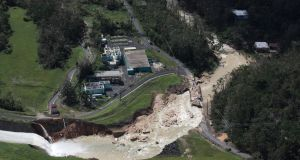 An aerial view shows the damage to the Guajataca dam in the aftermath of Hurricane Maria, in Quebradillas, Puerto Rico September 23, 2017. Photograph: Alvin Baez/Reuters