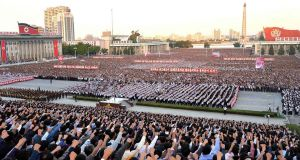 This picture taken on September 23, 2017 and released from North Korea's official Korean Central News Agency (KCNA) on September 24 shows an anti-US rally in Kim Il-Sung Square in Pyongyang. Photograph: AFP/Getty Images