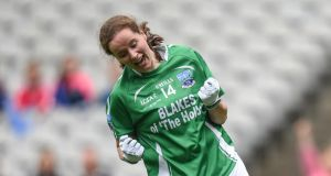 Fermanagh's  Sharon Murphy  celebrates scoring the game-tying goal from a  penalty  during the TG4 Ladies' Football All-Ireland Junior Championship Final against   Derry  at Croke Park. Photograph:  Cody Glenn/Sportsfile