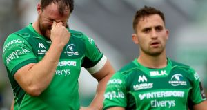 Connacht's Eoin McKeon shows his disappointment at the final whistle after Cardiff Blues snatched a late victory at the Sportsground. Photograph: James Crombie/Inpho