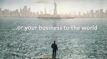 In An Post's ad, man stands on an Irish headland and stares west at the Manhattan skyline, mulling the world of potential on the far side of the Atlantic.