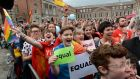 Crowds at Dublin Castle react to hearing the results of the Referendum on Marriage Equality. Photograph: Dara Mac Dónaill/The Irish Times