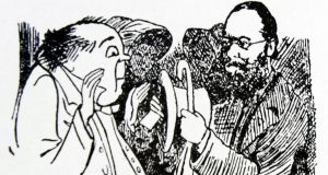 Drawing of Edward Lear, right, with one of his characters. Image: Universal History Archive/UIG via Getty Images