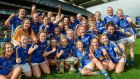 Tipperary players celebrate with the Mary Quinn Memorial Cup following the TG4 Ladies' Football All-Ireland Intermediate Championship Final against  Tyrone at Croke Park. Photograph: Cody Glenn/Sportsfile