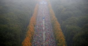 A panoramic view of the Berlin Marathon on Sunday Photograph: Michael Dadder/Reuters