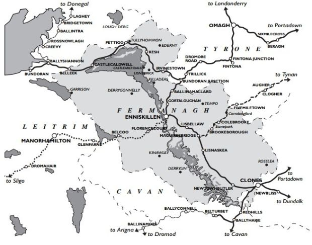A map showing the Great Northern Railway; the Sligo, Leitrim and Northern Counties Railway; Clogher Valley Railway and other lines