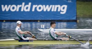 Irish lightweight pair Mark O'Donovan and Shane O'Driscoll are through to the A Final at the World Championships in Florida after winning their heat. Photograph: Inpho