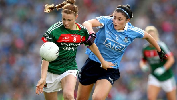 Dublin's Olwen Carey challenges Aileen Gilroy of Mayo during the TG4 Ladies Senior All-Ireland Football Championship Final at Croke Park. Photograph: Ryan Byrne/Inpho