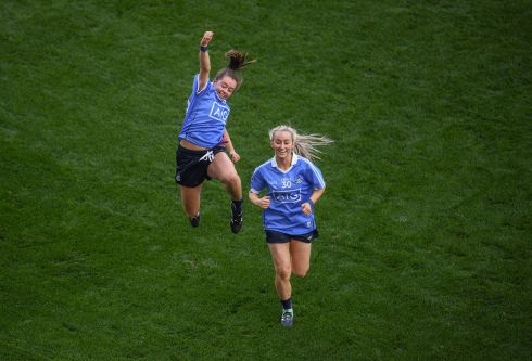 Kate Fitzgibbon (left) and Aoife Curran of Dublin celebrate following thewin over Mayo. Photograph: Stephen McCarthy/Sportsfile