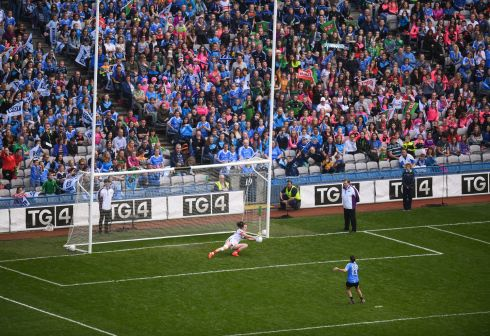 Yvonne Byrne of Mayo saves a penalty from Sinéad Aherne. Photograph: Stephen McCarthy/Sportsfile