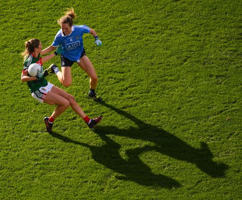 Grace Kelly of Mayo in action against Rachel Ruddy of Dublin. Photograph: Stephen McCarthy/Sportsfile