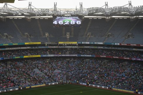 The attendance of 46,286 is shown on the big screen during the senior final between Mayo and Dublin. Photograph: Stephen McCarthy/Sportsfile