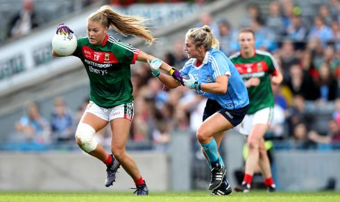 Dublin's Martha Byrne challenges Sarah Rowe of Mayo. Photograph: Ryan Byrne/Inpho