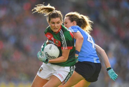 Grace Kelly of Mayo in action against Rachel Ruddy of Dublin during the senior final. Photograph: Brendan Moran/Sportsfile