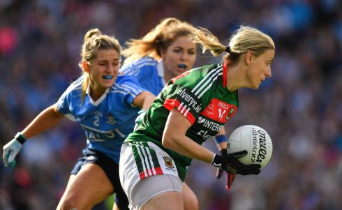Cora Staunton of Mayo in action against Martha Byrne of Dublin. Photograph: Brendan Moran/Sportsfile