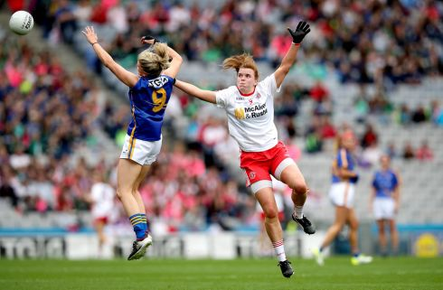 Tipperary's Jennifer Grant and Niamh O'Neill of Tyrone contest a high ball. Photograph: Ryan Byrne/Inpho