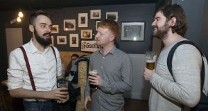 Emmanuel Bourgerie from France; Matthew Ó Cribin and Dylan Armstrong from Ashbourne, at a Pop-Up Gaeltacht event in the Piper's Corner in Dublin. Photograph: Dave Meehan