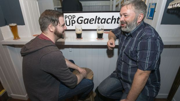 Donough Ó Briain, Carlow, and Seamus O'Morain, Roscommon, at a Pop-Up Gaeltacht event in the Piper's Corner on Marlborough Street, Dublin. Photograph: Dave Meehan