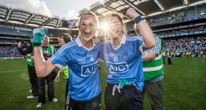 FOOTBALL FINAL: Dublin's Sinead Finnegan and Denise McKenna celebrate after beating Mayo in the Women's Senior All-Ireland Football Championship Final at Croke Park, Dublin. Photograph: Morgan Treacy/Inpho