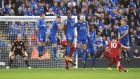 Philippe Coutinho of Liverpool scores at The King Power Stadium on Saturday. Photograph: Laurence Griffiths/Getty Images