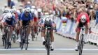 Peter Sagan (centre) of Slovakia breaks  ahead of Norway's Alexander Kristoff (right) in the road race world championship  in Bergen, Norway.  Photograph: Cornelius Poppe/EPA