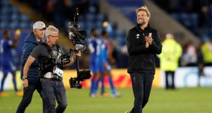 Liverpool manager Jurgen Klopp celebrates after the victory over Leicester City. Photograph: Darren Staples/Reuters