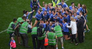 Dublin players celebrate following the  Ladies All-Ireland senior football final win over Mayo at Croke Park. Photograph:  Stephen McCarthy/Sportsfile **