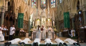 Bishop of Cloyne William Crean ordains six married male deacons for service in the diocese in Saint Colman's Cathedral in Cobh. Photograph: Provision