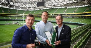 Ireland's Rugby World Cup    bid ambassador Brian O'Driscoll; Taoiseach Leo Varadkar; and Ireland 2023 oversight board chairman   Dick Spring. Photograph:  Billy Stickland/Inpho