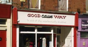 The seven shops which changed their signage to comply with the Charities Act 2009 were Munster Furniture Shop, Waterford; Sana, Galway; Christina's Creations, Laois; Good Cause Way, Dublin; the former charity shop, Co Cavan; Share 2 Second Hand, Mayo; and the former Bandon Ataxia, Cork. Photograph: Google Maps