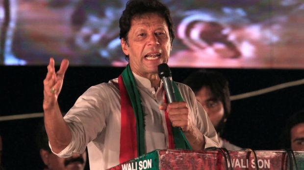 Khan, 64, has denied Gulalai's allegations and said he would not comment on the claims unless she released the messages. bPhotograph: Faisal Mahmood/Reuters
