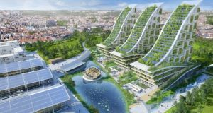 Designer Vincent Callebaut envisages an amazing green face-lift to the century-old warehouses at Belgium's former industrial sites
