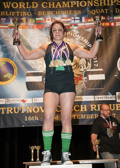 Rehana Maniar with medals won at the World Powerlifting Championships. Photograph: Malcolm McGettigan