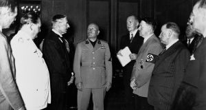 Neville Chamberlain, Adolph Hitler, Benito Mussolini, and Hermann Göring at the Munich Conference in 1938. Photograph: Library of Congress/Corbis/VCG via Getty Images