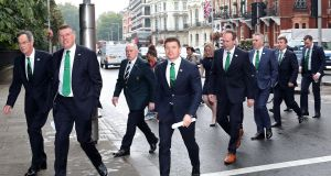 Dick Spring, Ireland 2023 bid chairman, Philip Browne, chief executive, IRFU, Philip Orr, IRFU president,  bid ambassador Brian O'Driscoll and the Ireland delegation arriving  in south Kensington, London. Photograph:  Billy Stickland/Inpho