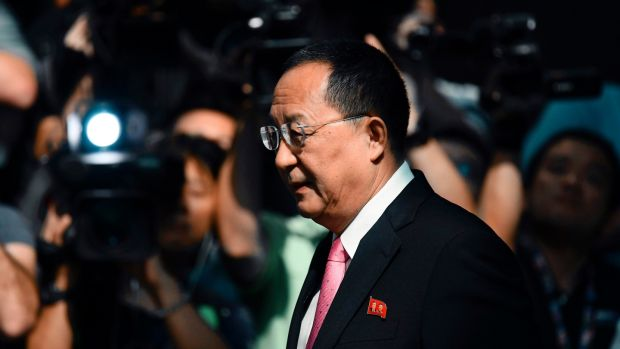 "North Korea: Ri Yong-ho said targeting the US with rockets was inevitable after ""Mr Evil President"" Trump called Pyongyang's leader a ""rocket man"". Photograph: Jewel Samad/AFP/Getty"