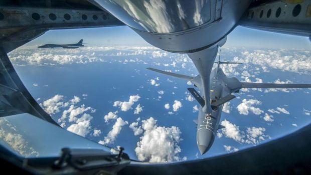 US bombers: a B-1B being refuelled over the East China Sea; US and South Korean aircraft flew off the east coast of North Korea on Saturday in a show of force. Photograph: Peter Reft/USAF/AFP/Getty