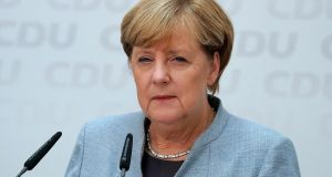 Germany's Dax traded lower on Monday after German chancellor Angela Merkel secured a fourth term but saw her party weakened by a surge in support for the far-right. Photograph: Krisztian Bocsi/Bloomberg