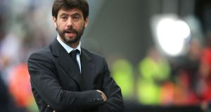 Juventus president Andrea Agnelli has been  banned for a year and fined €20,000 over an alleged scheme of giving tickets to hardcore fans. Photograph:  Marco Bertorello/AFP/Getty Images